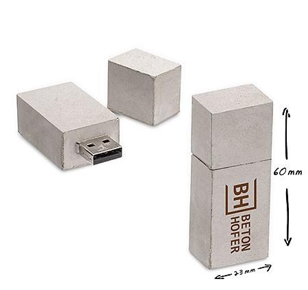 USB Stick aus Beton mit Druck oder Gravur