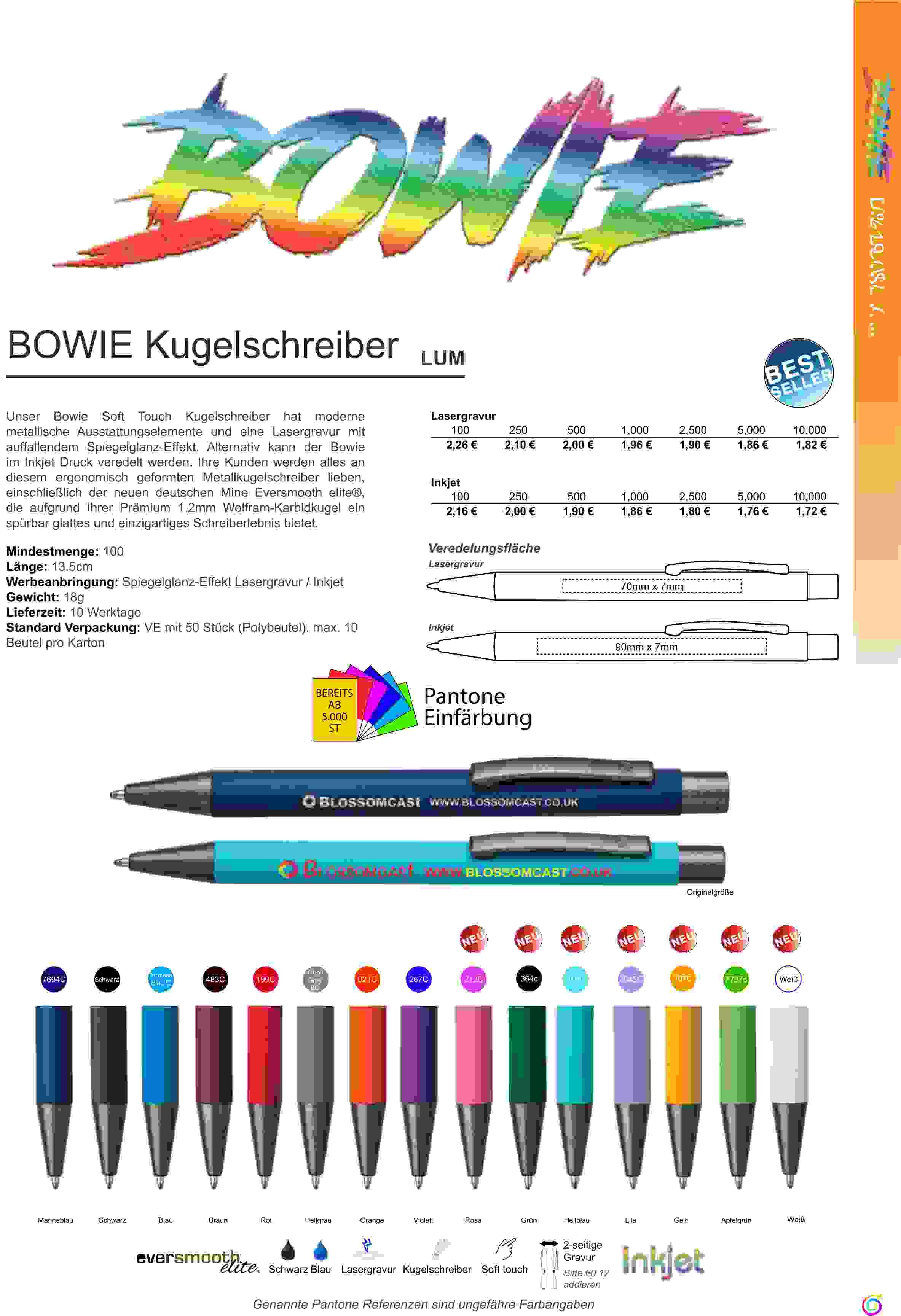 ANGEBOT Kugelschreiber BOWIE Toepper Werbung