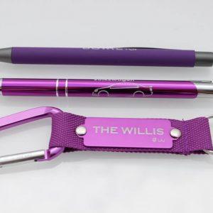 kugelschreiber metall karabiner schluesselanhaengr toeppre werbung