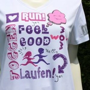 design sportshirts toepper werbung run feel good ladies
